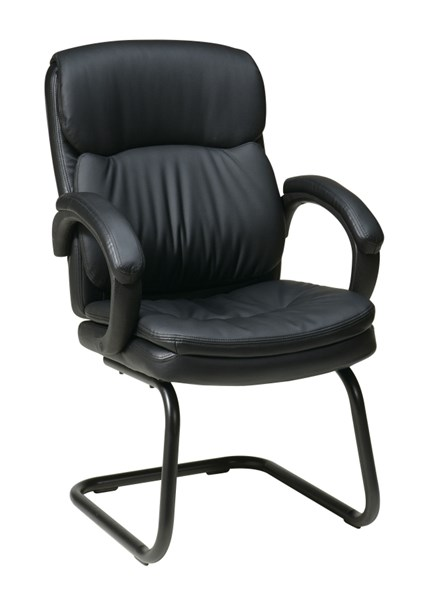 EC Series Black Bonded Leather Visitors Chair w/Padded Arms OSP-EC9235-EC3