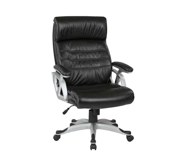 ECH Series Silver Black Bonded Leather Adjustable Arms Chair OSP-ECH70536-EC3