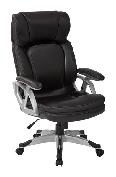 Executive Silver Black Bonded Leather Height Adjustable Arms Chair OSP-ECH70756-EC3