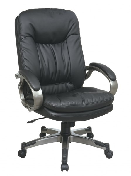 ECH Series Black Bonded Leather Fabric Chair w/Padded Arms OSP-ECH83507-EC3