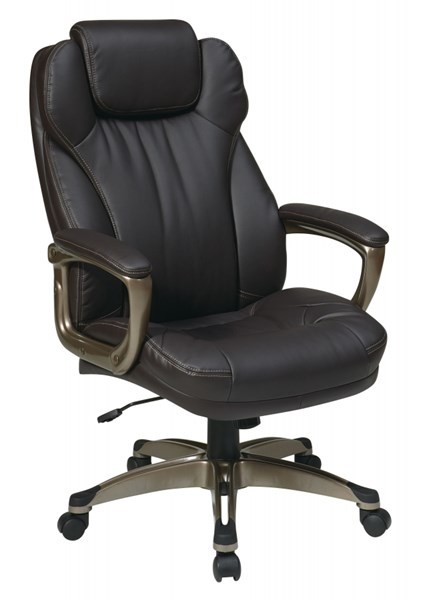 ECH Series Espresso Leather Metal Padded Arms Executive Chair OSP-ECH85801-EC1
