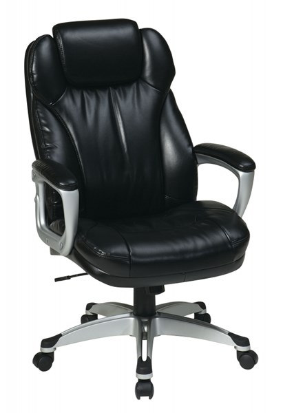ECH Series Silver Black Bonded Leather Padded Arms Executive Chair OSP-ECH85806-EC3