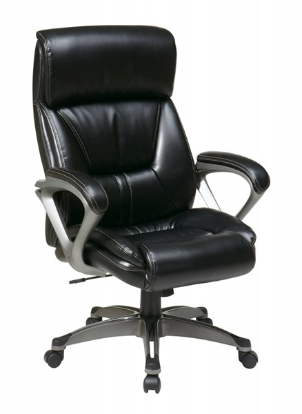 ECH Series Black Leather Fabric Padded Arms Executive Chair OSP-ECH89307-EC3