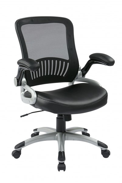 EM Series Black Silver Screen Back Bonded Leather Seat Managers Chair OSP-EM35206-EC3