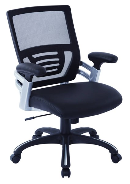 EMH Series Black Faux Leather Mesh Back PU Padded Arms Manager Chair OSP-EMH69176-U6