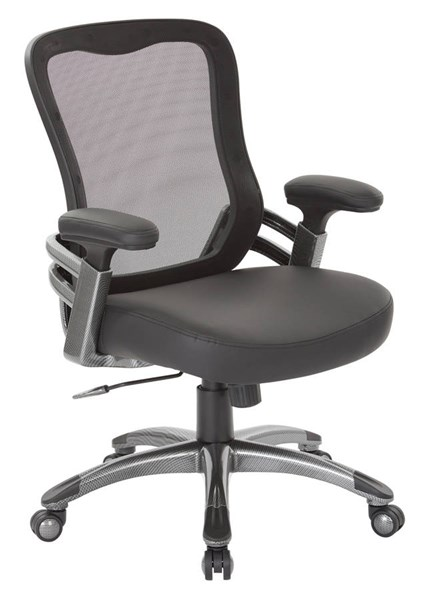 EMH Series Black Faux Leather Mesh Back & Padded Arms Manager Chair OSP-EMH6918T-U6