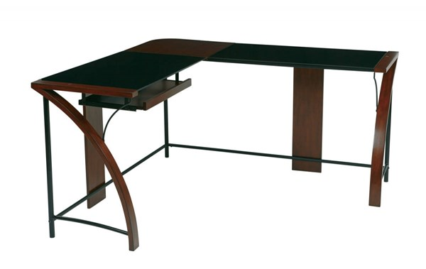 Emette Black Cherry L-Shape Workstation Home Office Corner Desk OSP-EMT25