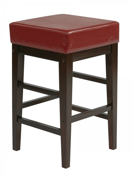 Metro Contemporary Red Espresso Faux Leather Wood 25 Inch Square Stool OSP-ES25VS3RD