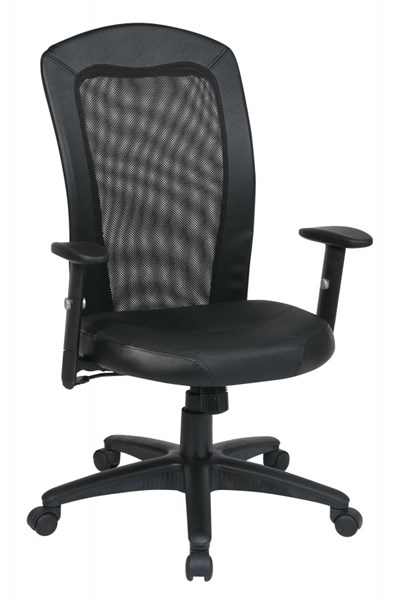 EX Series Black Screen Vinyl Trim & Leather Seat Back Chair OSP-EX1580-3