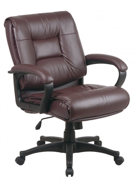 EX Series Burgundy Deluxe Mid Back Glove Soft Leather Executive Chair OSP-EX5161-4