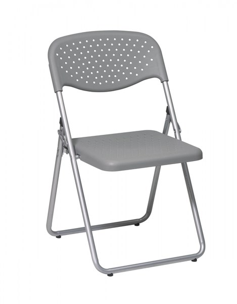 4 FC Series Silver Grey Plastic Seat & Back Frame Folding Chairs OSP-FC8000NS-2