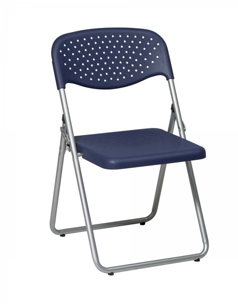4 FC Series Silver Blue Plastic Seat & Back Frame Folding Chairs OSP-FC8000NS-7