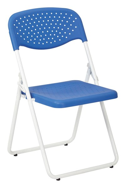 4 FC Series Blue Plastic White Metal Solid Back Folding Chairs OSP-FC8000NW-7