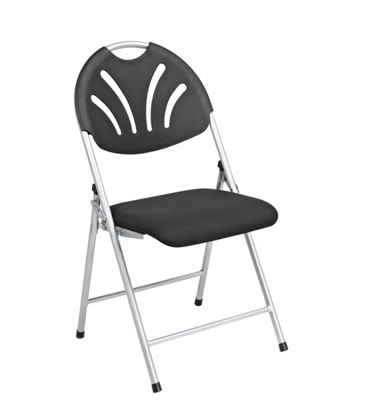 4 FC Series Black Silver Plastic Fan Back & Fabric Seat Folding Chairs OSP-FC8100NS-3