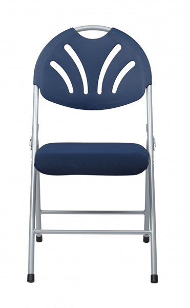 4 FC Series Blue Grey Plastic Fan Back & Fabric Seat Folding Chairs OSP-FC8100NS-7