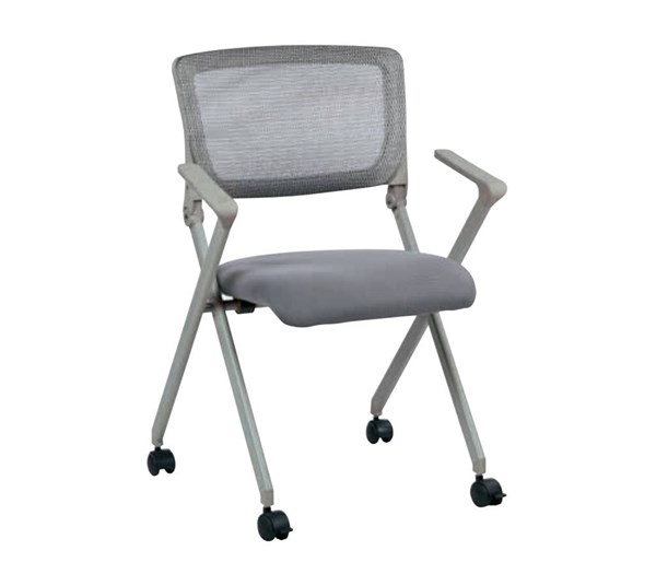 2 FC Series Gray Breathable Mesh Back & Fabric Seat Folding Chairs OSP-FC8482-2
