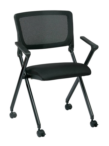 2 FC Series Black Breathable Mesh Back & Fabric Seat Folding Chairs OSP-FC8483-231