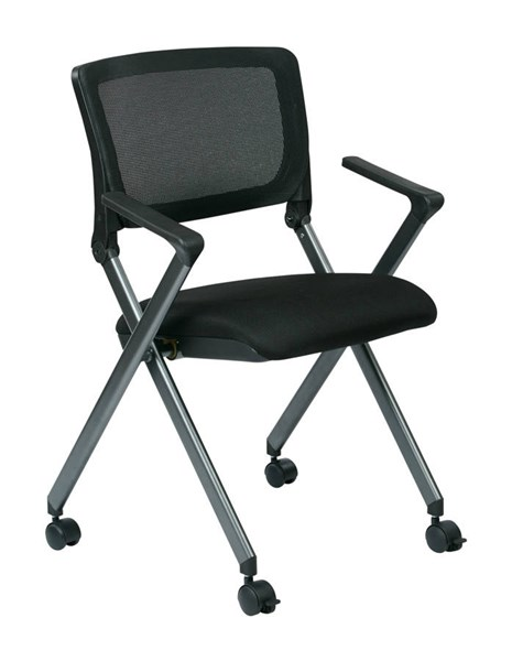 2 FC Series Titanium Frame Black Fabric Seat Mesh Back Folding Chairs OSP-FC8487-231
