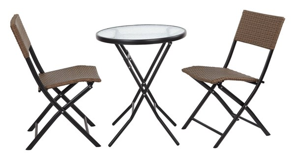 Country Espresso Metal 3pc Dining Set - Folding Round Table & 2 Chairs OSP-FCD332-ES