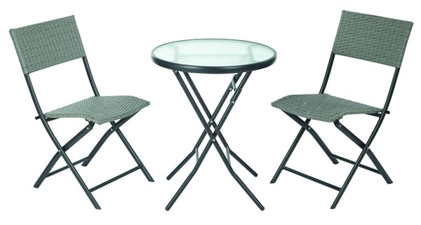 Country Grey Metal 3pc Dining Set - ( Folding Round Table & 2 Chairs ) OSP-FCD332-GRY