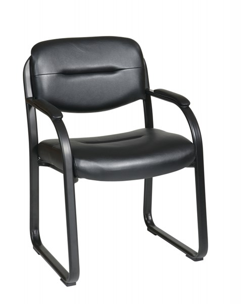 FL Series Black Deluxe Faux Leather Visitors Chair w/Sled Base OSP-FL1055-U6