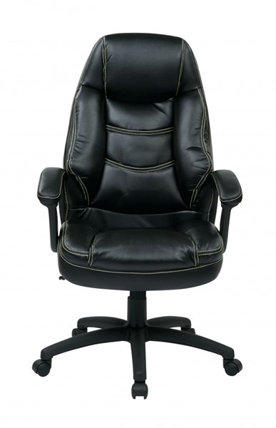 FL Series Black Oversized Faux Leather Padded Arms Executive Chair OSP-FL3422-U6