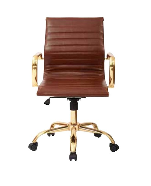 FL Series Thick Pad Saddle Faux Leaether Seat & Back Gold Base Chair OSP-FL3836G-U41