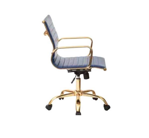 FL Series Thick Padded Navy Faux Leaether Seat & Back Gold Base Chair OSP-FL3836G-U5