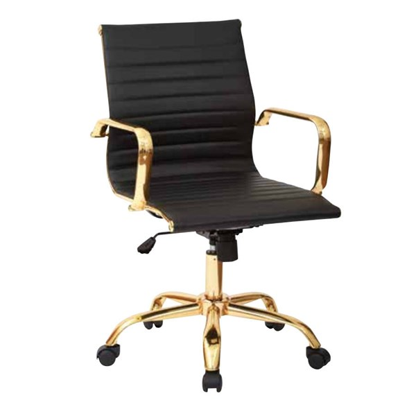 FL Series Thick Padded Black Faux Leaether Seat & Back Gold Base Chair OSP-FL3836G-U6
