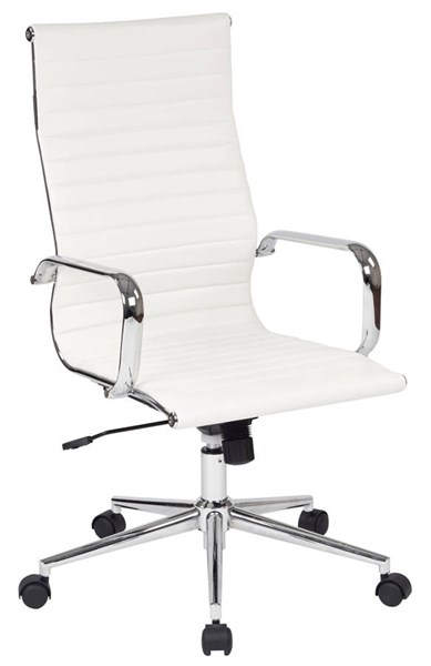 FL Series Modern White Faux Leather Metal High Back Office Chair OSP-FL4836C-U11