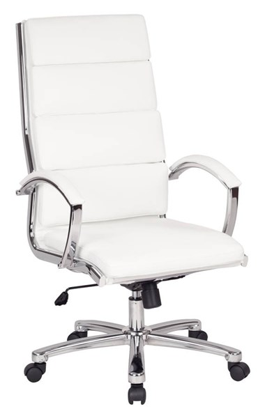FL Series Modern White Aluminum Faux Leather High Back Executive Chair OSP-FL5380C-U11