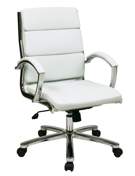FL Series White Mid Back Faux Leather Executive Chair OSP-FL5388C-U11