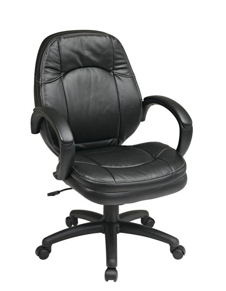 FL Series Black Faux Leather Wood Deluxe Managers Chair OSP-FL605-U6