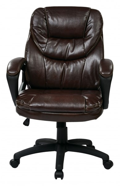 FL Series Chocolate Faux Leather Padded Arms Managers Chair OSP-FL660-U2