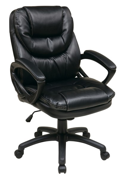 FL Series Black Faux Leather Padded Arms Managers Chair OSP-FL660-U6