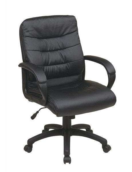 FL Series Black Mid Back Faux Leather Arms Executive Chair OSP-FL7481-U6