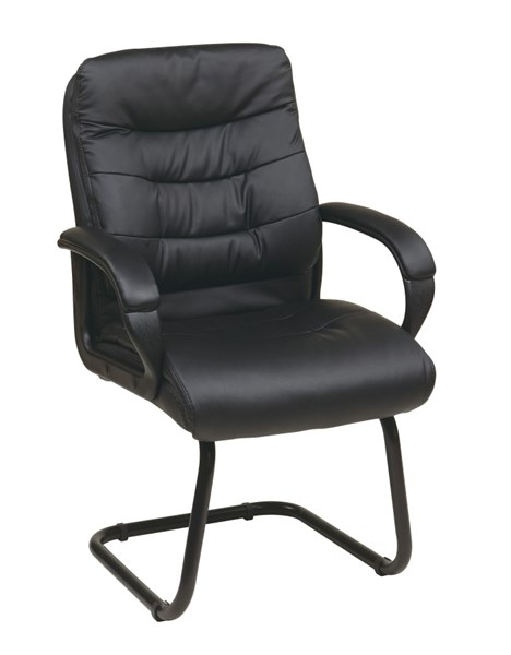 FL Series Black Faux Leather Padded Arms & Sled Base Visitors Chair OSP-FL7485-U6