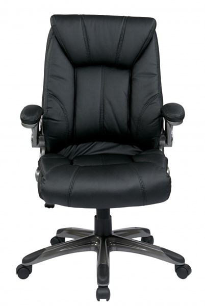 FL Series Black Faux Leather Mid Back Arms Managers Chair OSP-FLH24987-U6