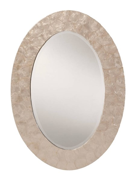 Rio Beveled White Mother of Pearl Oval Frame Wall Mirror OSP-GC0520-11