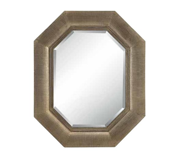 Maselle Angular Heptagonal Silver Finish Beveled Wall Mirror OSP-GC1991-SV