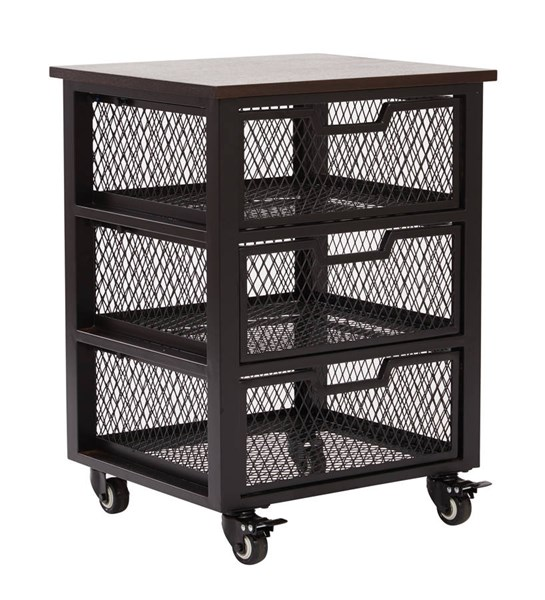 Garret Contemporary Black Espresso Wood Top 3 Drawer Rolling Cart OSP-GRT03AS-BK