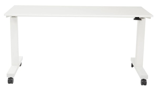HAT 6 Feet White Wide Pneumatic Height Adjustable Laminate Top Table OSP-HAT60261-1