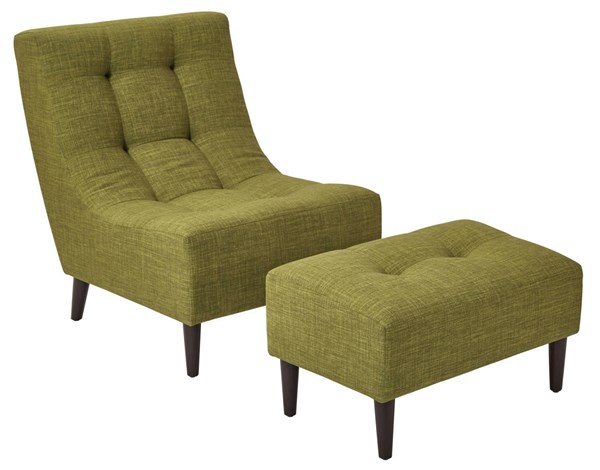 Hudson Solid Wood Fabric Chair & Ottoman Set OSP-HDS51-M-CHO-VAR