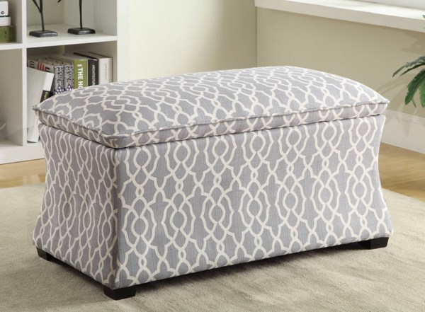 Hourglass Contemporary Gray Blue Basil Fabric Storage Ottomans OSP-HG3218-OTM-VAR