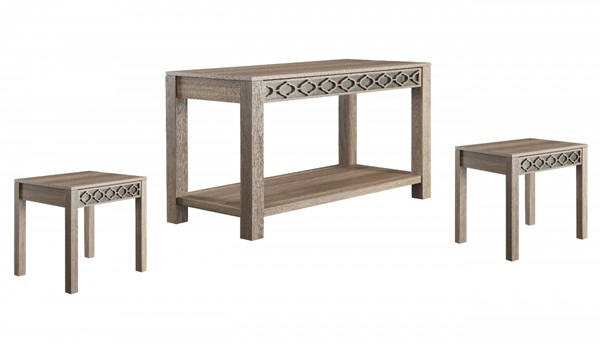 Helena Transitional Greco Oak Wood Mirror Accent Coffee Table Set OSP-HLN-GK-CT