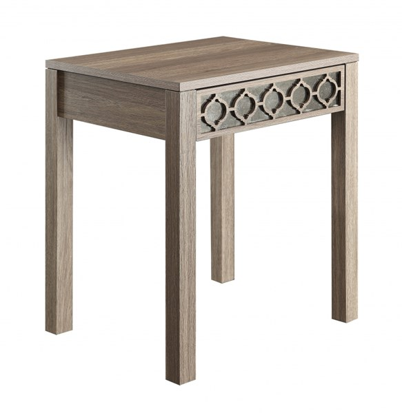 Helena Transitional Greco Oak Wood Mirror Accent Panel End Table OSP-HLN09-GK