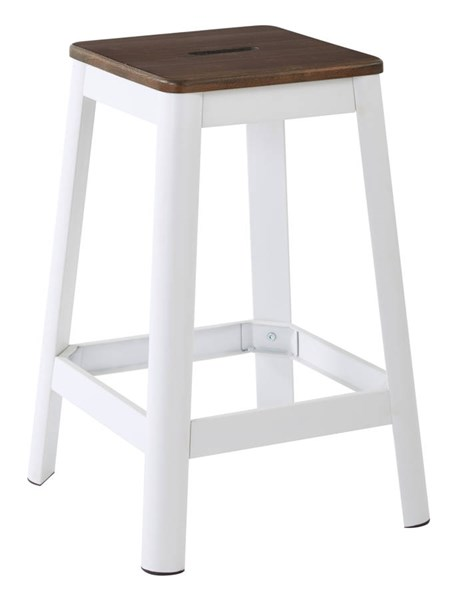 Hammond Frosted White Metal Darkwood Seat 26 Inch Barstool OSP-HMM9426D-C231