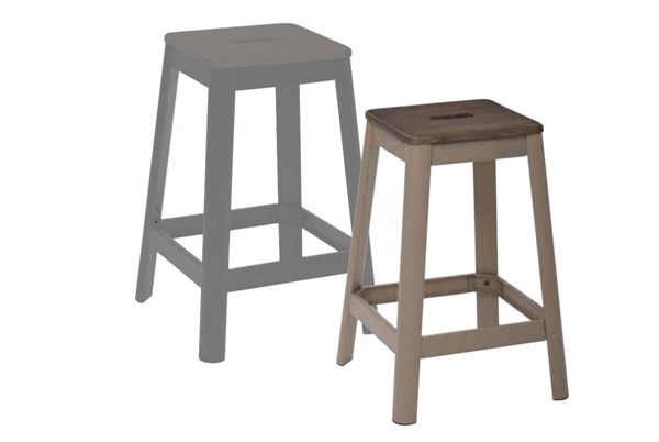 Hammond 26 Inch Frosted Cappuccino Metal Frame Darkwood Seat Barstool OSP-HMM9426D-C233