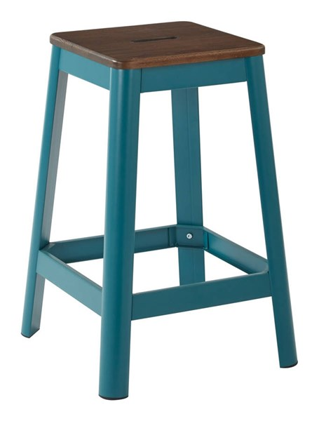 Hammond Frosted Teal Metal Darkwood Seat 26 Inch Barstool OSP-HMM9426D-C236