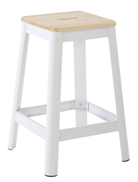 Hammond Frosted White Metal Lightwood Seat 26 Inch Barstool OSP-HMM9426L-C231